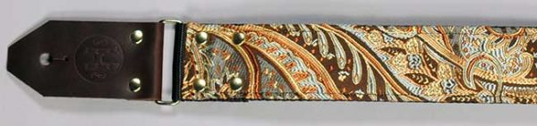Hang Over Guitar Strap: Brown & Gold Paisley